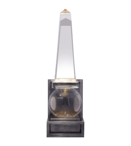 Visual Comfort CHD 2264CG/BZ E. F. Chapman Traditional Paladin Short Modern Obelisk Sconce in Crystal and Bronze