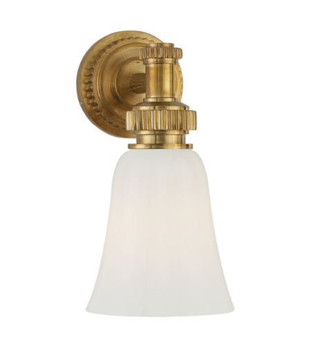 Visual Comfort CHD 2462AB-WG E. F. Chapman Modern Ruhlmann Single Bath Sconce in Antique-Burnished Brass with White Glass