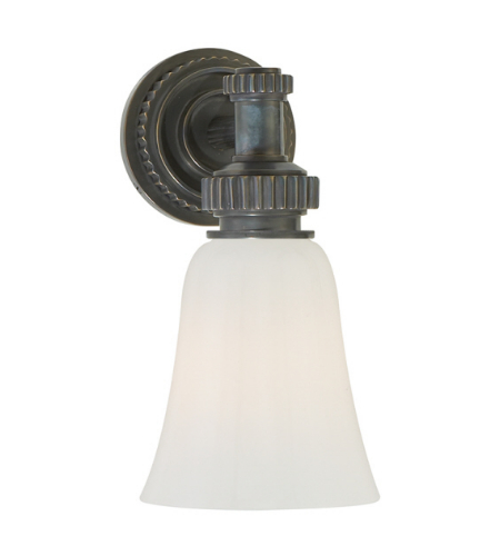 Visual Comfort CHD 2462BZ-WG E. F. Chapman Modern Ruhlmann Single Bath Sconce in Bronze with White Glass