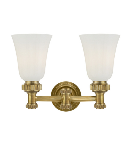 Visual Comfort CHD 2463AB-WG E. F. Chapman Modern Ruhlmann Double Bath Sconce in Antique-Burnished Brass with White Glass