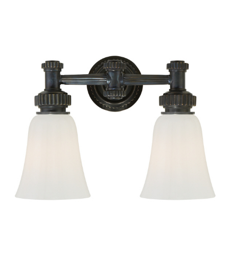 Visual Comfort CHD 2463BZ-WG E. F. Chapman Modern Ruhlmann Double Bath Sconce in Bronze with White Glass