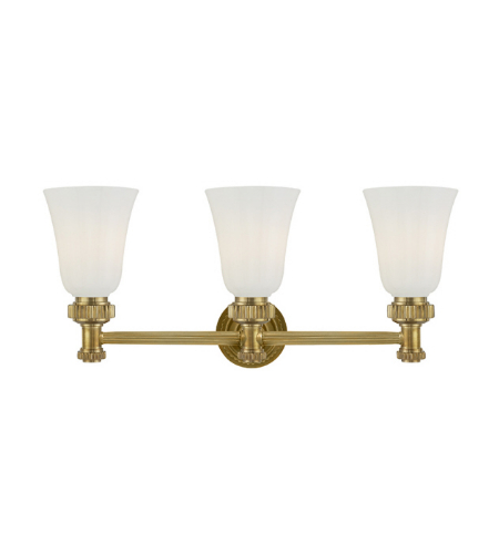 Visual Comfort CHD 2464AB-WG E. F. Chapman Modern Ruhlmann Triple Bath Sconce in Antique-Burnished Brass with White Glass