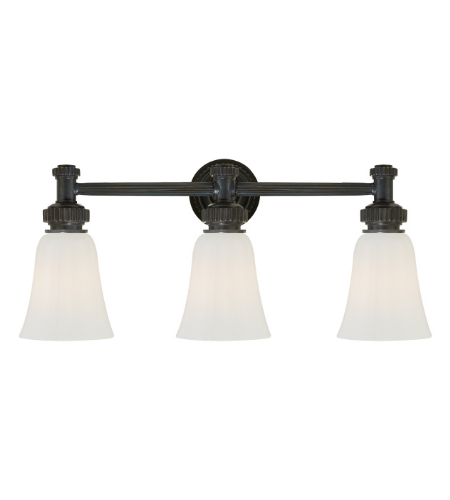 Visual Comfort CHD 2464BZ-WG E. F. Chapman Modern Ruhlmann Triple Bath Sconce in Bronze with White Glass