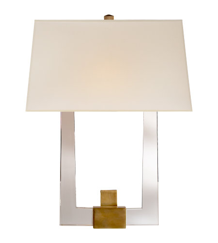 Visual Comfort CHD 2957CG/AB-S E. F. Chapman Modern Edwin Double Arm Sconce in Crystal and Antique-Burnished Brass with Silk Shade