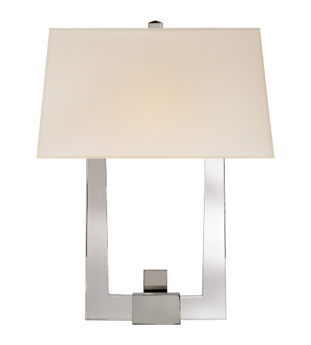 Visual Comfort CHD 2957CG/PN-S E. F. Chapman Modern Edwin Double Arm Sconce in Crystal and Polished Nickel with Silk Shade