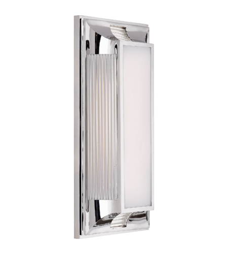 Visual Comfort CHD 4211PN-WG E. F. Chapman Modern Hector Medium Art Deco Bath Light in Polished Nickel and Glass Rods with White Glass