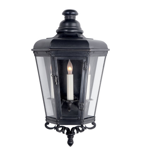 Visual Comfort CHO 2114BC-CG E. F. Chapman Traditional Menzel Small 3/4 Wall Lantern in Blackened Copper with Clear Glass