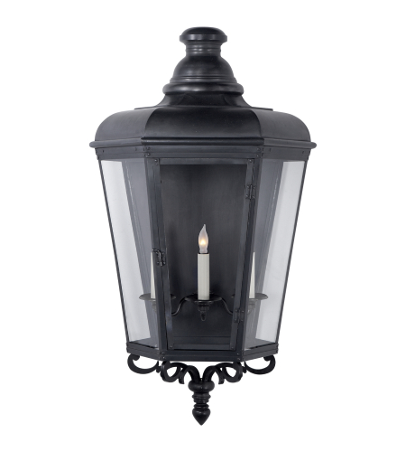 Visual Comfort CHO 2116BC-CG E. F. Chapman Traditional Menzel Large 3/4 Wall Lantern in Blackened Copper with Clear Glass