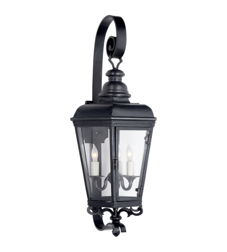 Visual Comfort CHO 2117BC-CG E. F. Chapman Traditional Menzel Small Wall Lantern in Blackened Copper with Clear Glass