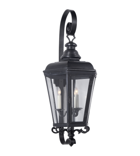Visual Comfort CHO 2118BC-CG E. F. Chapman Traditional Menzel Medium Wall Lantern in Blackened Copper with Clear Glass