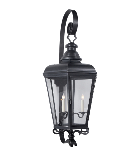 Visual Comfort CHO 2119BC-CG E. F. Chapman Traditional Menzel Large Wall Lantern in Blackened Copper with Clear Glass