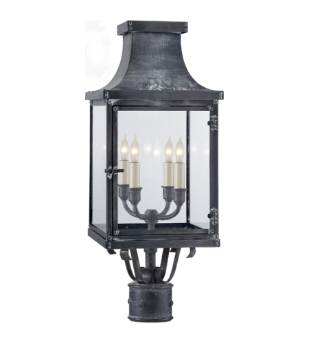 Visual Comfort CHO 7820WZ-CG E. F. Chapman Traditional Bedford Post Lantern in Weathered Zinc with Clear Glass