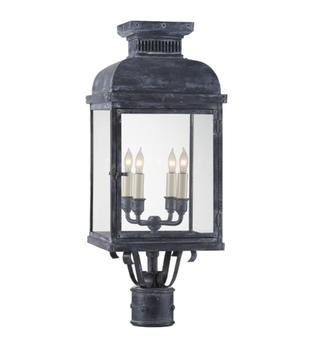 Visual Comfort CHO 7821WZ-CG E. F. Chapman Traditional Suffork Post Lantern in Weathered Zinc with Clear Glass