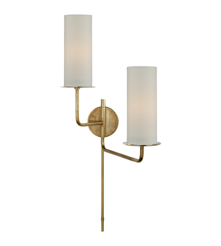 Visual Comfort KS 2036SB-L kate spade new york Modern Larabee Double Swing Arm Sconce in Soft Brass with Cream Linen Shades