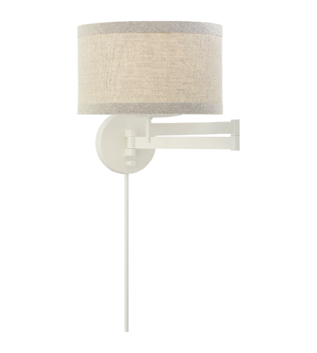 Visual Comfort KS 2075LC-NL kate spade new york Modern Walker Swing Arm Sconce in Light Cream with Natural Linen Shade