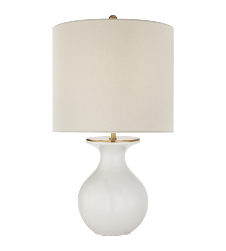 Visual comfort ks 3616nwt l kate spade new york casual albie small desk lamp in new white with cream linen shade