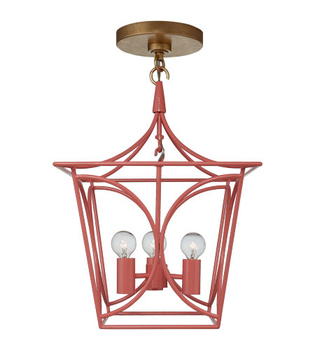 Visual Comfort KS 5143CRL/G kate spade new york Casual Cavanagh Mini Lantern in Coral and Gild
