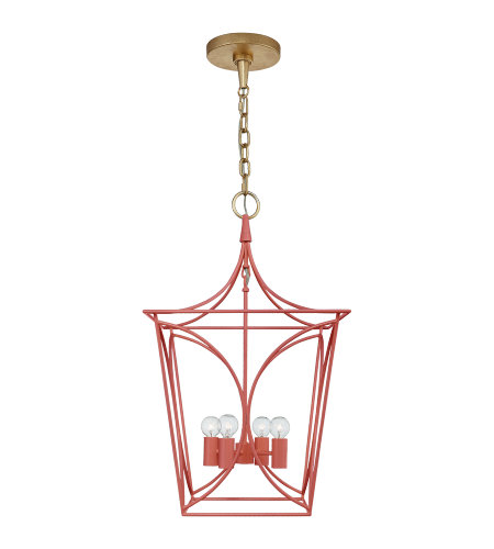 Visual Comfort KS 5144CRL/G kate spade new york Casual Cavanagh Small Lantern in Coral and Gild