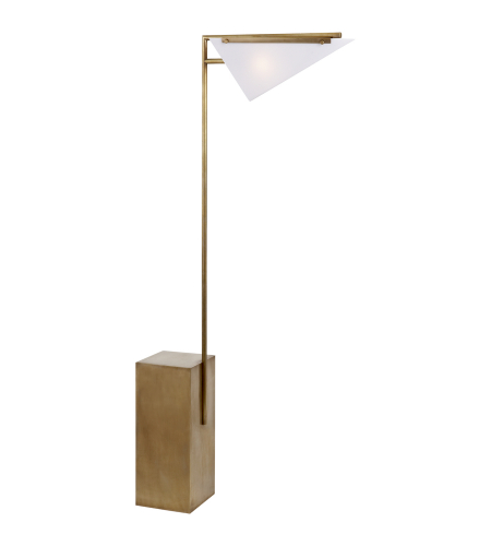 Visual Comfort KW 1250AB-WG Kelly Wearstler Modern Forma Floor Lamp in Antique-Burnished Brass with White Glass