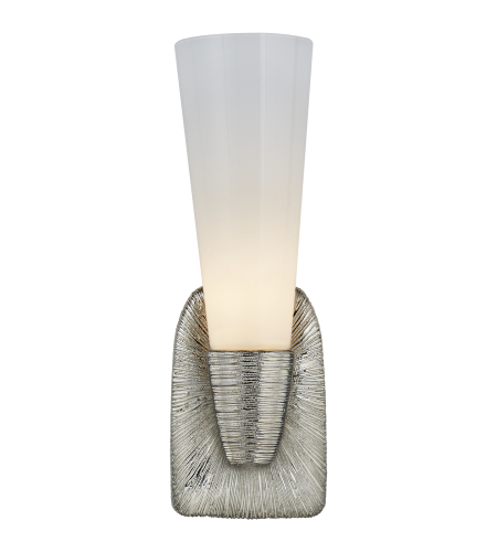 Visual Comfort KW 2043PN-WG Kelly Wearstler Modern Utopia Small Single Bath Sconce in Polished Nickel with White Glass