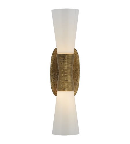Visual Comfort KW 2047G-WG Kelly Wearstler Modern Utopia Small Double Bath Sconce in Gild with White Glass