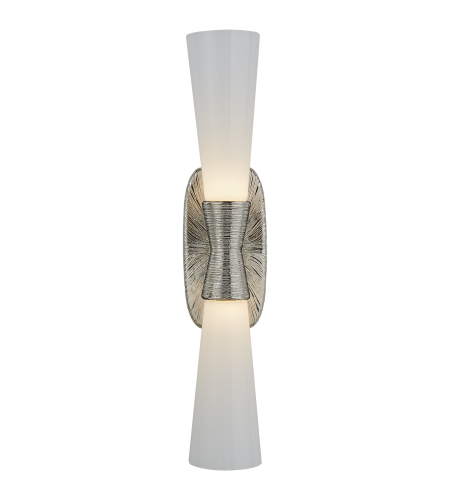 Visual Comfort KW 2048PN-WG Kelly Wearstler Modern Utopia Large Double Bath Sconce in Polished Nickel with White Glass