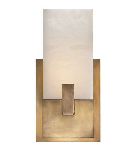 Visual Comfort KW 2113AB-ALB Kelly Wearstler Modern Covet Short Clip Bath Sconce in Antique-Burnished Brass