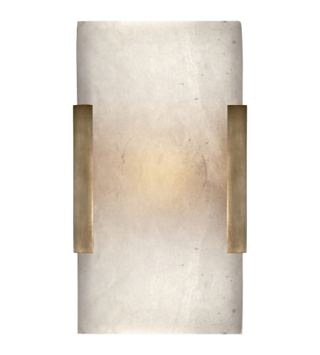 Visual Comfort KW 2115AB-ALB Kelly Wearstler Modern Covet Wide Clip Bath Sconce in Antique-Burnished Brass