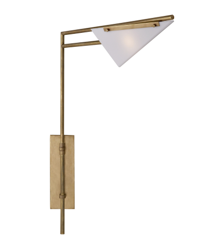 Visual Comfort KW 2251AB-WG Kelly Wearstler Modern Forma Swing Arm Sconce in Antique-Burnished Brass with White Glass