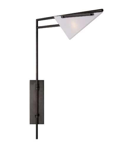 Visual Comfort KW 2251BZ-WG Kelly Wearstler Modern Forma Swing Arm Sconce in Bronze with White Glass