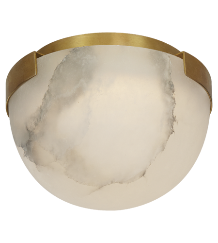Visual Comfort KW 4011AB-ALB Kelly Wearstler Modern Melange Petite Flush Mount in Antique-Burnished Brass with Alabaster Shade