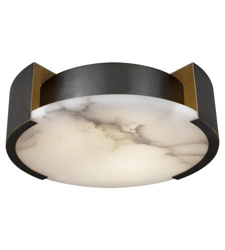 Visual Comfort KW 4012BZ Kelly Wearstler Modern Melange Small Flush Mount Lamp in Bronze with Alabaster