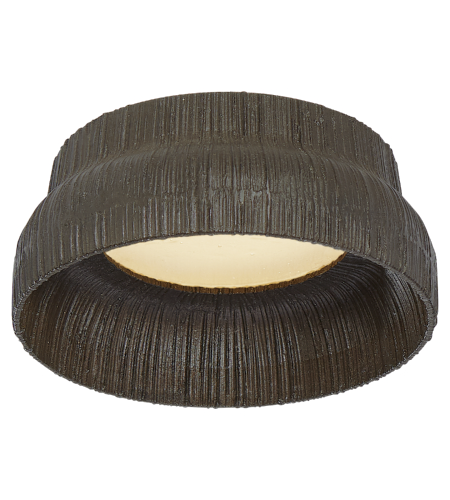 Visual Comfort KW 4030AI-FRG Kelly Wearstler Modern Utopia Petite Flush Mount in Aged Iron with Fractured Glass Trim