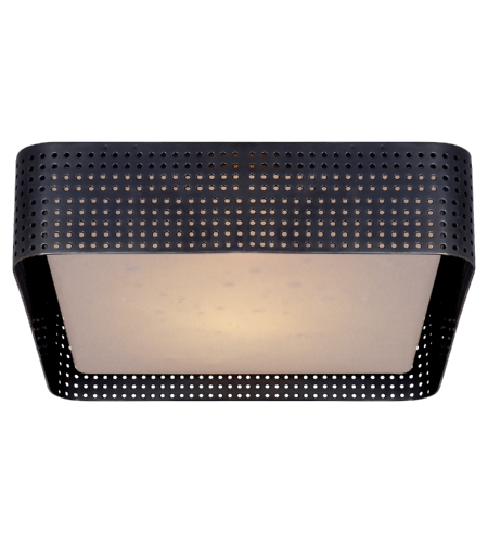 Visual Comfort KW 4061BZ-CDG Kelly Wearstler Modern Precision Large Square Flush Mount in Bronze with Clouded Glass