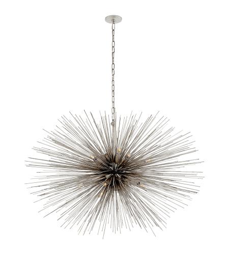 visual comfort kw 5075bsl kelly wearstler modern strada large oval chandelier in burnished silver leaf