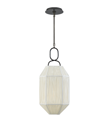 Visual Comfort KW 5315BZ-L Kelly Wearstler Casual Forza Small Lantern in Bronze with Gathered Linen Shade