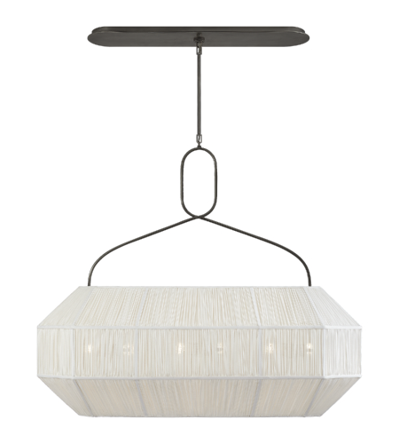 Visual Comfort KW 5317BZ-L Kelly Wearstler Casual Forza Medium Linear Lantern in Bronze with Gathered Linen Shade