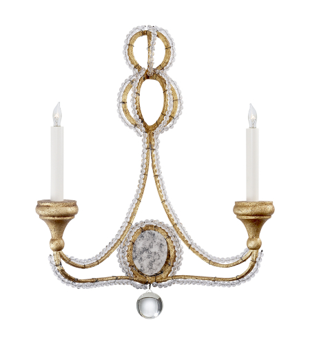 Visual Comfort NW 2030VG Niermann Weeks Traditional Milan Double Sconce in Venetian Gold with Crystal