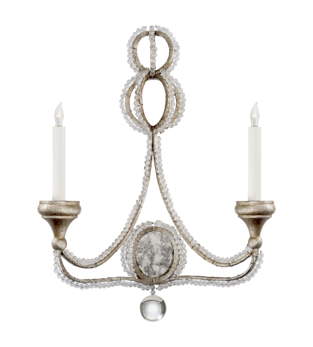 Visual Comfort NW 2030VS Niermann Weeks Traditional Milan Double Sconce in Venetian Silver with Crystal