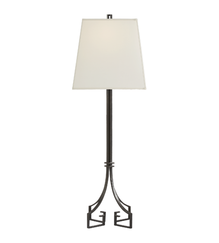 Visual Comfort NW 3016AI-SS Niermann Weeks Traditional Rhodes Buffet Lamp in Aged Iron with Silk Shade