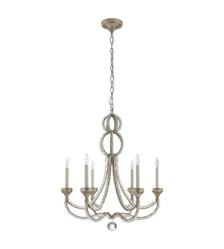 Visual Comfort NW 5030VS Niermann Weeks Traditional Milan Medium Chandelier in Venetian Silver with Crystal