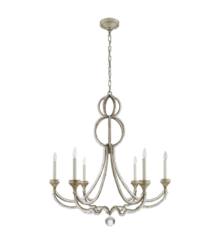 Visual Comfort NW 5031VS Niermann Weeks Traditional Milan Large Chandelier in Venetian Silver with Crystal