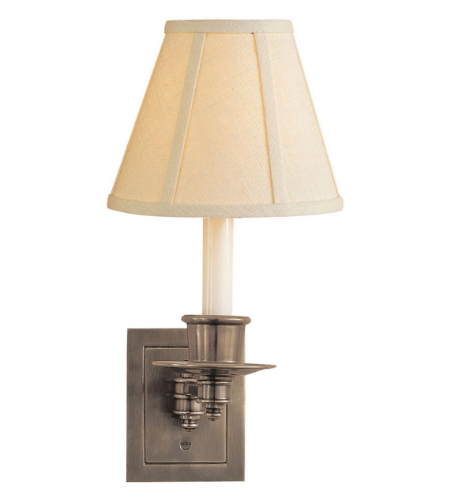 Visual Comfort S 2005AN-L Studio VC Traditional Single Swing Arm Sconce in Antique Nickel with Linen Shade