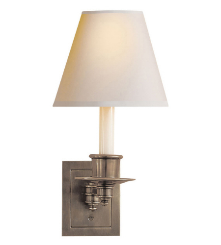 Visual Comfort S 2005AN-NP Studio VC Traditional Single Swing Arm Sconce in Antique Nickel with Natural Paper Shade