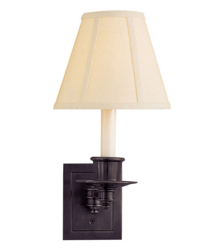 Visual Comfort S 2005BZ-L Studio VC Traditional Single Swing Arm Sconce in Bronze with Linen Shade