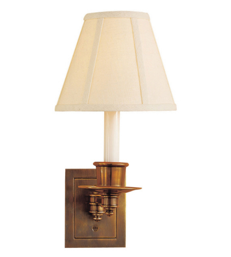 Visual Comfort S 2005HAB-L Studio VC Traditional Single Swing Arm Sconce in Hand-Rubbed Antique Brass with Linen Shade