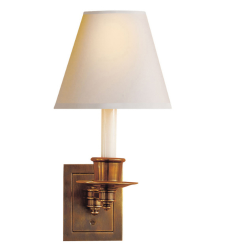 Visual Comfort S 2005HAB-NP Studio VC Traditional Single Swing Arm Sconce in Hand-Rubbed Antique Brass with Natural Paper Shade