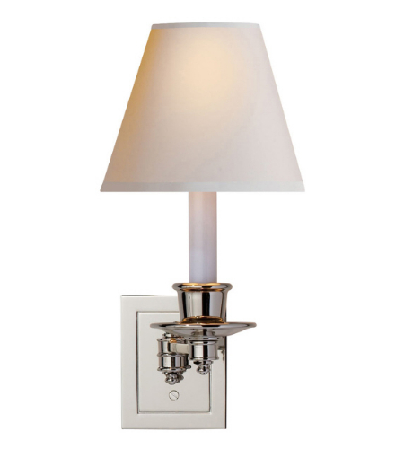 Visual Comfort S 2005PN-NP Studio VC Traditional Single Swing Arm Sconce in Polished Nickel with Natural Paper Shade