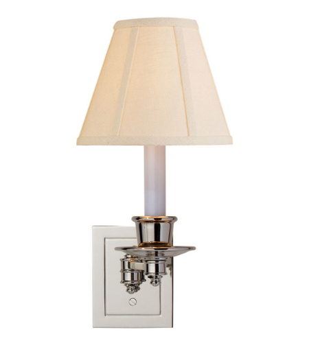 Visual Comfort S 2005PN-L Studio VC Traditional Single Swing Arm Sconce in Polished Nickel with Linen Shade