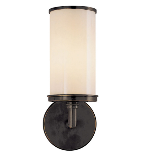 Visual Comfort S 2006BZ-WG Studio VC Modern Cylinder Sconce in Bronze with White Glass